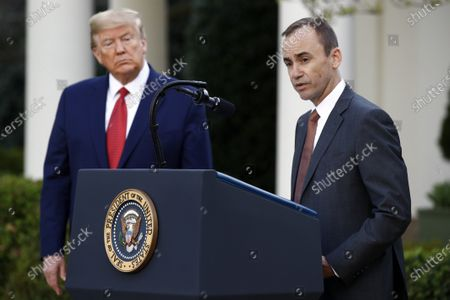 Brian Tyler, CEO of McKesson, speaks during a coronavirus task force briefing in the Rose Garden of the White House, in Washington, as President Donald Trump listens