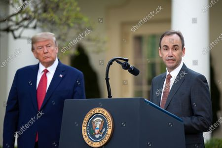 Stock Image of Brian Tyler, CEO, McKesson, delivers remarks on the COVID-19 pandemic in the Rose Garden of the White House