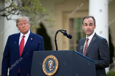 Brian Tyler (R), CEO of McKesson, speaks during a press briefing on the coronavirus and COVID-19 pandemic, in the Rose Garden at the White House, in Washington, DC, USA, 29 March 2020. Trump announced that restrictions related to coronavirus and COVID-19 will be extended until 30 April.