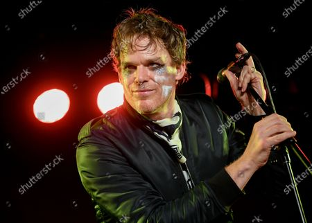 """Stock Picture of Actor and singer Michael C. Hall performing with his band Princess Goes To The Butterfly Museum in New York. The indie rockers may be in the unenviable position of trying to launch their career during a global pandemic, but they have a few things going for them - they're all seasoned musicians and they have a celebrity. Hall, known from the series """"Dexter"""" is the lead singer. He's joined by keyboardist Matt Katz-Bohen, who has played with Blondie, Cyndi Lauper and Tony Bennett. The drummer is Peter Yanowitz of the bands The Wallflowers and Morningwood"""