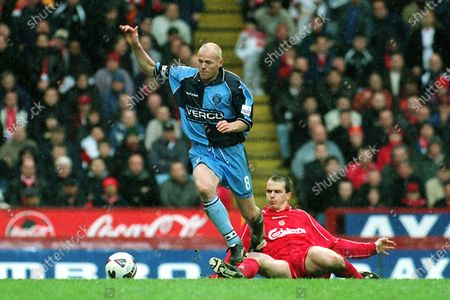 Keith Ryan of Wycombe Wanderers eludes a tackle from Liverpool's Dietmar Hamann during Wycombe Wanderers vs Liverpool, FA Cup Semi-Final Football at Villa Park on 8th April 2001