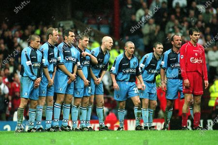 Wycombe players defend a Liverpool free-kick. From left to right, Chris Vinnicombe, Dave Carroll, Guy Whittingham, Dannie Bulman, Keith Ryan, Michael Simpson, Paul McCarthy and Jamie Bates during Wycombe Wanderers vs Liverpool, FA Cup Semi-Final Football at Villa Park on 8th April 2001