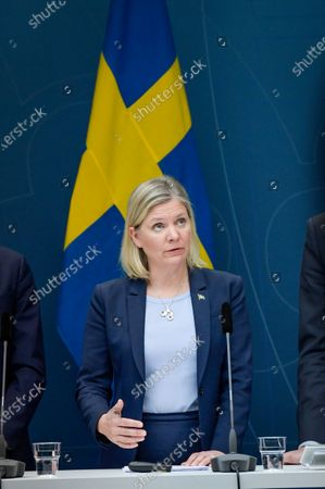 Swedish Finance Minister Magdalena Andersson speaks during a news conference on approved extra means for the  unemployment benefit scheme during the coronavirus / covid-19 crisis, in Stockholm, Sweden, 30 March 2020.