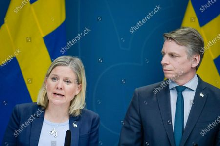 Stock Image of Swedish Finance Minister Magdalena Andersson (L) and Minister for Financial Markets and Housing Per Bolund speak during a news conference on approved extra means for the unemployment benefit scheme during the coronavirus / covid-19 crisis, in Stockholm, Sweden, 30 March 2020.