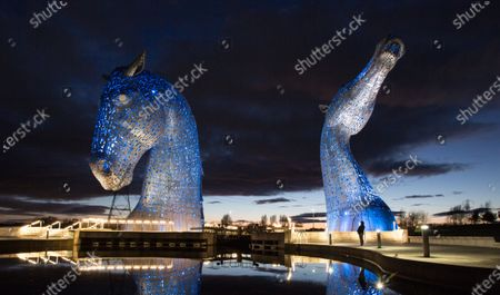 Editorial image of The Kelpies in Falkirk to be lit up blue for the whole period of the COVID-19 crisis, United Kingdom - 30 Mar 2020