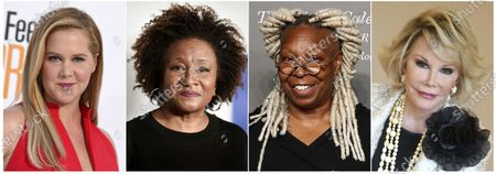 This combination photo shows comedians, from left, Amy Schumer, Wanda Sykes, Whoopi Goldberg and Joan Rivers, whose comedy will be featured on a new SiriusXM comedy channel called She's So Funny debuting on April Fool's Day