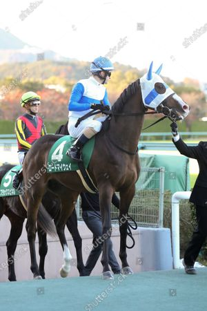 Lord My Way (Christophe Lemaire) - Horse Racing : Lord My Way and Christophe Lemaire before the Hanshin 11R Challenge Cup at Hanshin Racecourse in Hyogo, Japan.