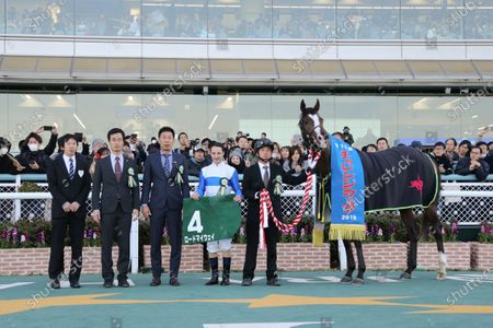 Lord My Way (Christophe Lemaire) - Horse Racing : Lord My Way and Christophe Lemaire won the Hanshin 11R Challenge Cup at Hanshin Racecourse in Hyogo, Japan.