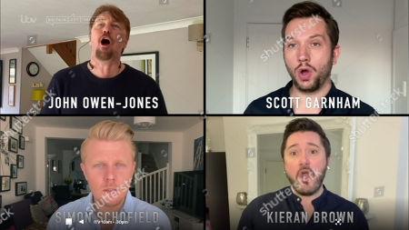John Owen-Jones, Scott Garnham, Simon Schofield and Kieran Brown perform Bring Him Home in support of the NHS.