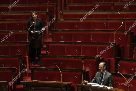 French Member of Parliament Valerie Rabault of Socialist Party (L) speaks during the weekly session of questions to the government at the National Assembly in Paris, France, 31 March 2020. Philippe announced that the confinement extends until April 15, 2020. France now has 44,550 coronavirus cases, 3,024 deaths and 7,927 recovered.