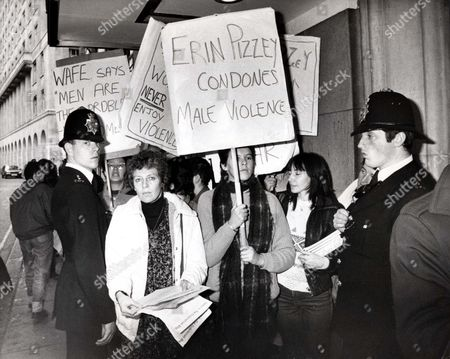 Part Of The Demonstration That Greeted Erin Pizzey As She Arrived For The Women Of The Year Luncheon At The Savoy Today. She Pioneered Battered Women's Refugees And Has Written A Book With Her American Husband Jeff Shapiro In Which She Suggests That Many Women Who Are Battered Both Invite And Enjoy The Violence They Suffer. The Book Prone To Violence Is Due Out Next Week - 1982