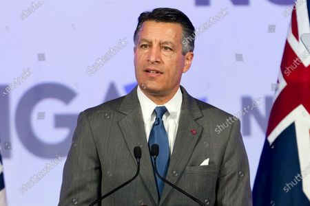 Then-Gov. Brian Sandoval of Nevada at the National Governor Association 2018 winter meeting in Washington, D.C. Former Gov. Sandoval is stepping down from his position at MGM Resorts to pursue the presidency at the University of Nevada, Reno. The state Board of Regents also announced, it intends to identify a candidate to serve as president at UNR while it continues a search for a permanent replacement to outgoing President Marc Johnson for the rest of the year