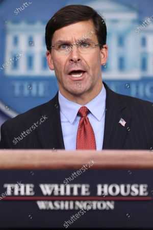 United States Secretary of Defense Dr. Mark Esper speaks during a press conference in the Brady Press Briefing Room of the White House.