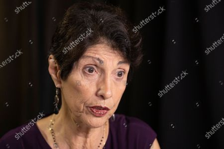 Diane Foley, mother of journalist James Foley, who was killed by the Islamic State terrorist group in a graphic video released online, speaks to the Associated Press during an interview in Washington. Family members of Americans who are imprisoned abroad or held hostage by militant groups say in a new report that the U.S. government must do better in communicating with them. The report from the James W. Foley Legacy Foundation is based on interviews with 25 former hostages and detainees as well as their relatives and advocates