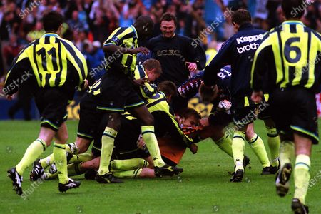 Andy Morrison wrestles Manchester City goalkeeper, Nicky Weaver to the ground to celebrate winning the penalty shoot-out and Play-Off Final during Manchester City vs Gillingham, Nationwide League Division Two Football at Wembley Stadium on 30th May 1999