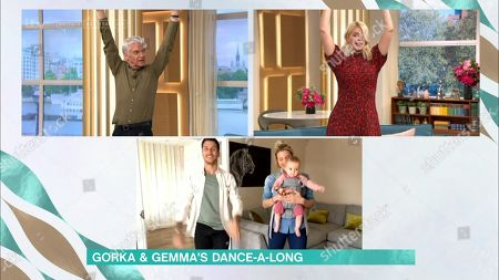 Phillip Schofield, Holly Willoughby, Gorka Marquez and Gemma Atkinson take part in the Dance Along