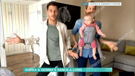 Gorka Marquez, Gemma Atkinson and daughter Mia take part in the Dance Along