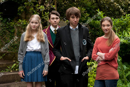 Stock Picture of Ellie Bamber as Olivia, Jake Davies as Rob, Alexander Armstrong as Jamie and Antonia Clarke as Jess.