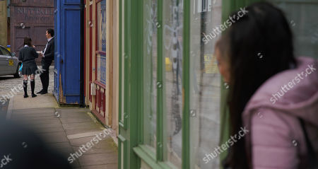 Ep 10048 Monday 13th April 2020 Amy Barlow, as played by Elle Mulvaney, invites Corey, as played by Maximus Evans, over for pizza and they share a laugh. Having clocked the exchange from a distance, Kelly Neelan, as played by Millie Gibson, tells Asha Alahan, as played by Tanisha Gorey, that it's obvious Amy fancies Corey.