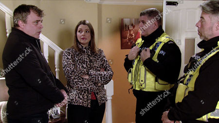 Ep 10050 Friday 17th April 2020 As Steve McDonald, as played by Simon Gregson, and Tracy McDonald, as played by Kate Ford, head home, a police car pulls up. Tracy and Steve throw the revellers out of the house and order Amy to start clearing up.