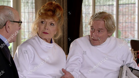Ep 10050 Friday 17th April 2020 Having trounced Ken Barlow, as played by William Roache, in the fencing match, smug Charles suggests they do it again next week. Ken's fuming but Norris Cole, as played by Malcolm Hebden, reveals that whilst they were jousting, he rifled through Charles's sports bag and found the Stillwaters? Rule Book. Ken, Claudia Colby, as played by Rula Lenska, and Norris peruse the Rule Book and discover Charles has been ripping off the residents left, right and centre.