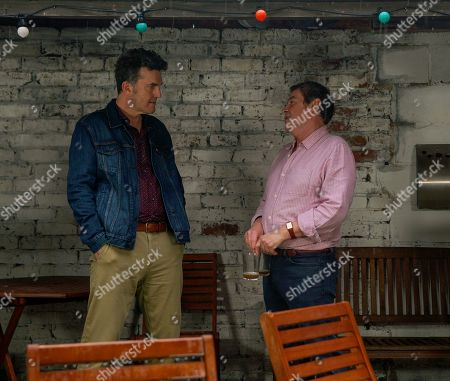 Ep 10052 Wednesday 22nd April 2020 Johnny Connor, as played by Richard Hawley, and Jenny leave for the airport. Johnny's uneasy when Scott Emberton, as played by Tom Roberts, assures him there are no hard feelings about the past.
