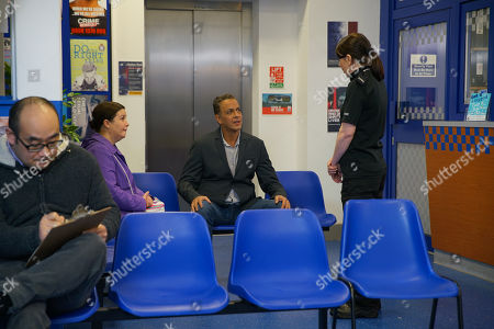 Ep 10053 Friday 24th April 2020 Dev Alahan, as played by Jimmi Harkishin, goes to the police station to report the two school kids. With Mary Cole, as played by Patti Clare.