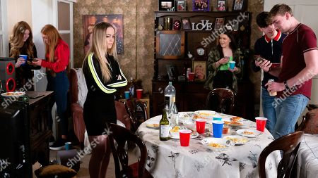 Ep 10049 Wednesday 15th April 2020 Asha Alahan, as played by Tanisha Gorey, Aadi, Kelly Neelan, as played by Millie Gibson, Corey, as played by Maximus Evans, and Summer Spellman, as played by Matilda Freeman, gather at No.1 for Amy Barlow's, as played by Elle Mulvaney, party. Asha confides in Amy that she flashed her boobs for Corey on facetime. Suddenly the house is swamped by a load of gatecrashers and Amy reckons Kelly's to blame. Corey accidentally smashes one of Tracy's new lamps and Amy is furious, assuming that Kelly is to blame. The naked pictures of Asha are sent from Corey's phone to the 'party people' group chat.