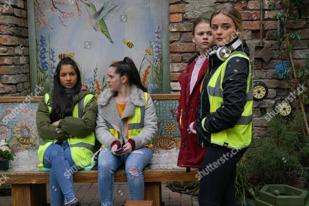 Ep 10051 Monday 20th April 2020 Asha Alahan's, as played by Tanisha Gorey, horrified when Dev forces her to attend Mary Taylor's, as played by Patti Clare, youth volunteering group tidying up Victoria Gardens. Aadi Alahan, as played by Adam Hussain, clocks one of the lads sniggering at Asha. As Amy Barlow, as played by Elle Mulvaney, Summer Spellman, as played by Matilda Freeman, and Kelly Neelan, as played by Millie Gibson, try to comfort Asha in Victoria Gardens, Aadi starts a fight with the lad for mocking his sister. Mary's helpless as the boys brawl.