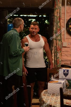 Ep 8776 Monday 13th April 2020 There is a mix up as Sam Dingle's, as played by James Hooton, stag do is mistakenly disturbed by a hunky masseur.