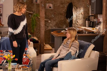 Ep 8780 Wednesday 22nd April 2020 Vanessa Woodfield, as played by Michelle Hardwick, is annoyed by Charity Dingle's, as played by Emma Atkins, behaviour and turns to Rhona for support.