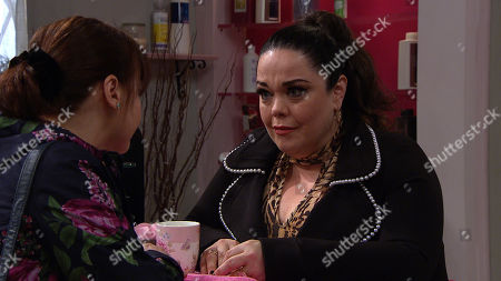 Ep 8779 Monday 20th April 2020 Mandy Dingle, as played by Lisa Riley, reveals more of her history with Paul to Lydia Dingle, as played by Karen Blick.