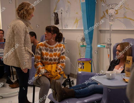 Ep 8779 Monday 20th April 2020 On her first day of chemotherapy, Vanessa Woodfield, as played by Michelle Hardwick, urges Charity Dingle, as played by Emma Atkins, to stay home and look after a sick Moses. At the hospital, Vanessa prepares to begin her treatment alone when Kerry Wyatt, as played by Laura Norton, happens to be walking past and decides to keep her company. There's a thawing between Kerry and Vanessa, however it's interrupted when a horrified Charity arrives and flips out.