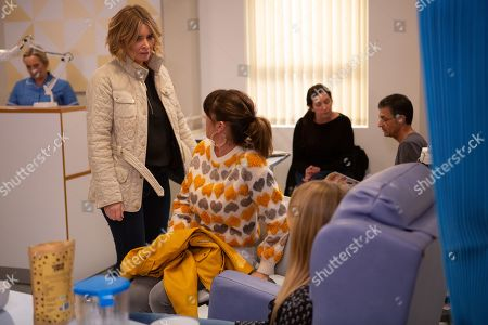Stock Picture of Ep 8779 Monday 20th April 2020 On her first day of chemotherapy, Vanessa Woodfield, as played by Michelle Hardwick, urges Charity Dingle, as played by Emma Atkins, to stay home and look after a sick Moses. At the hospital, Vanessa prepares to begin her treatment alone when Kerry Wyatt, as played by Laura Norton, happens to be walking past and decides to keep her company. There's a thawing between Kerry and Vanessa, however it's interrupted when a horrified Charity arrives and flips out.