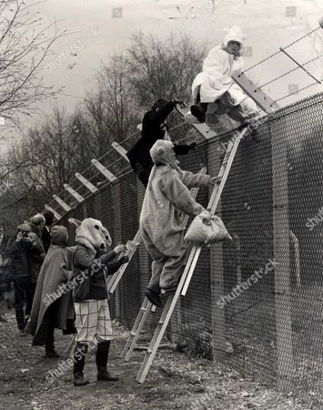 Editorial photo of Demonstrations - Greenham Common - 1983 Greenham Common Protest. Women Climb The Greenham Fence. Mrs. Thatcher Is To Mount A Big New Operation To Counter Cnd Propaganda Following Yesterday's Unilateralist Demonstration By Tens Of Thousands Of People