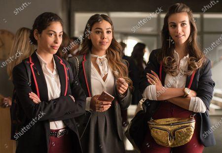 Mina El Hammani as Nadia Shanaa, Danna Paola as Lu and Claudia Salas as Rebeka de Bormujo Avalos