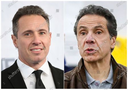This combination photo shows CNN news anchor Chris Cuomo at the WarnerMedia Upfront in New York, left, and New York Gov. Andrew Cuomo speaking during a news conference in New York on March 23, 2020. The love, drama and comedy of New York's Cuomo brothers is enlivening coronavirus television. New York Gov. Andrew Cuomo's briefings on how his state is responding to the crisis are featured on cable television nearly every day, a mixture of statistics, advice and political advocacy. Younger brother Chris, on CNN each night, is letting viewers experience with him the reality of going through the disease. He tested positive and has done his show this week remotely from his basement