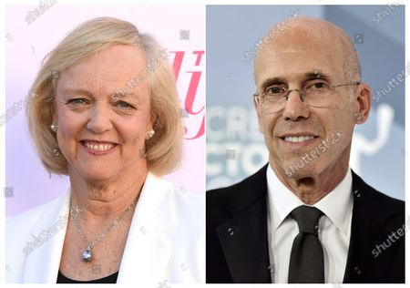 This combination photo shows Meg Whitman at The Hollywood Reporter's Women in Entertainment Breakfast Gala in Los Angeles, left, and Jeffrey Katzenberg at the 26th annual Screen Actors Guild Awards in Los Angeles on Jan. 19, 2020. Katzenberg and Whitman are bringing Quibi to a phone near you with movies, shows and news served in quick bites