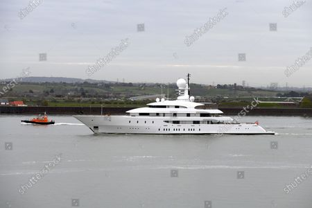 Editorial photo of Superyacht Ilona on the River Thames, London, UK - 03 Apr 2020