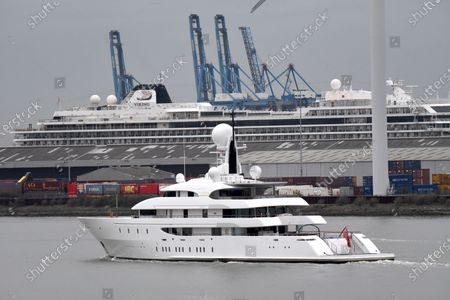 Editorial image of Superyacht Ilona on the River Thames, London, UK - 03 Apr 2020