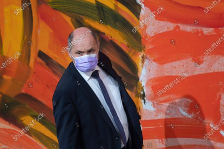 President of the Austrian National Council Wolfgang Sobotka wearing a face mask during a session of the parliament at the temporary parliament building at the Hofburg Palace in Vienna, Austria, 03 April 2020. Countries around the world are taking increased measures to stem the widespread of the SARS-CoV-2 coronavirus which causes the Covid-19 disease.
