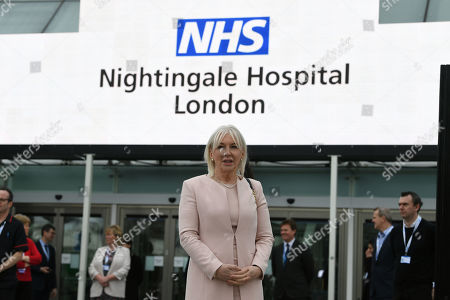 Health minister Nadine Dorries at the opening of the NHS Nightingale Hospital at the ExCel centre in London, a temporary hospital with 4000 beds which has been set up for the treatment of Covid-19 patients. Split into more than 80 wards containing 42 beds each, the facility will be used to treat Covid-19 patients who have been transferred from other intensive care units across London.