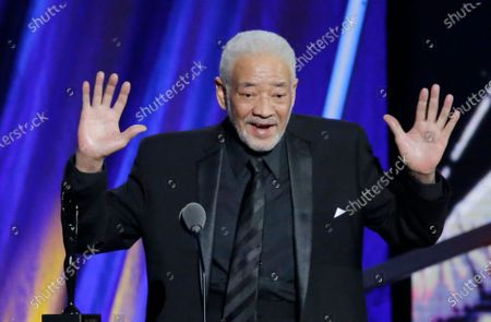 "Singer-songwriter Bill Withers speaking at the Rock and Roll Hall of Fame Induction Ceremony in Cleveland. Withers, who wrote and sang a string of soulful songs in the 1970s that have stood the test of time, including ""Lean On Me,"" ""Lovely Day"" and ""Ain't No Sunshine,"" died in Los Angeles from heart complications on . He was 81"