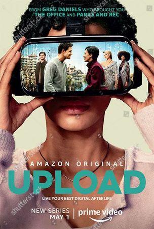 Stock Image of Upload (2020) Poster Art. Kevin Bigley as Luke, Robbie Amell as Nathan, Andy Allo as Nora, Allegra Edwards as Ingrid Kannerman and Zainab Johnson as Aleesha
