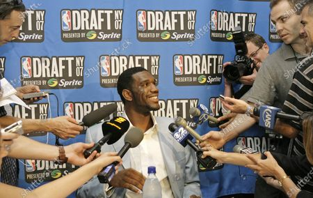 Ohio State's Greg Oden answers reporters' questions the day before the NBA Draft in New York. The 7-footer averaged 15.7 points, 9.6 rebounds and 3.3 blocks for Ohio State before the Portland Trail Blazers took him with the No. 1 pick in the 2007 draft