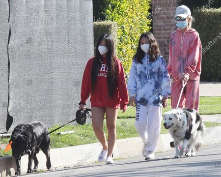 Stock Photo of Laeticia Hallyday and children Jade Hallyday Hallyday and Joy Hallyday taking some fresh air protected with masks in Pacific Palisades