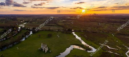 Stock Photo of Aerial photographs of the remains of Newark Priory basking in the sunshine taken by photographer Oliver Dixon