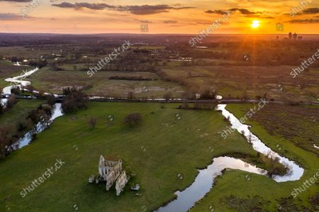 Stock Image of Aerial photographs of the remains of Newark Priory basking in the sunshine taken by photographer Oliver Dixon