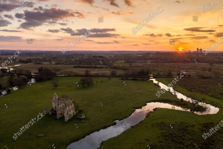 Aerial photographs of the remains of Newark Priory basking in the sunshine taken by photographer Oliver Dixon