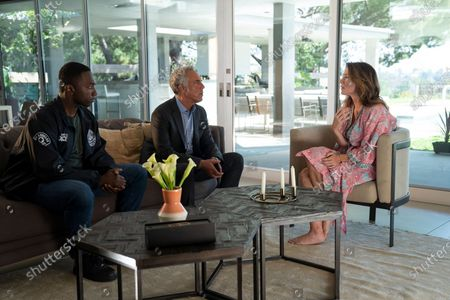 Stock Image of Jamie Hector as Jerry Edgar, Titus Welliver as Harry Bosch and Leisha Hailey as Maureen O'Grady